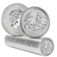 Roll of 20 - 2018 1 oz Silver Lunar Year of The Dog Lion Privy BU Perth Mint
