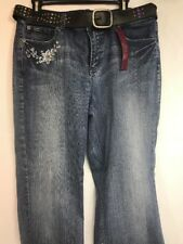 New Gitano Womens Fashion Blue Jeans Size 14 (34 Waist) With Belt Disressed Worn