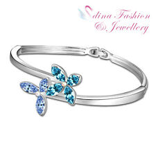 18K White Gold Plated Made With Swarovski Crystal Crossover Flower Bangle