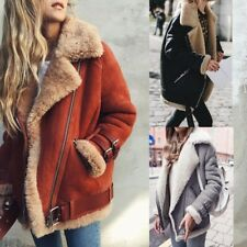 New Womens Lambswool Coat Aviator Leather Jacket Winter Warm Thick Fake Fur Coat
