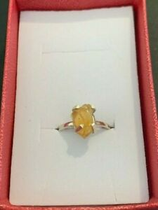 Sterling Silver Natural Citrine Ring, Size L, circa 1970's
