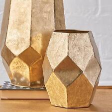 "NEW Raz 7"" Gold Geometric Metal Decorative Flower Vase 3721715"