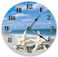 "10.5"" TWO STARFISH ON SEASHORE CLOCK - Large 10.5"" Wall Clock Home Décor - 3080"