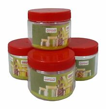 Sunpet Set of 4 200ml Red Top Plastic Food Storage Canisters Jar Kitchen, NEW