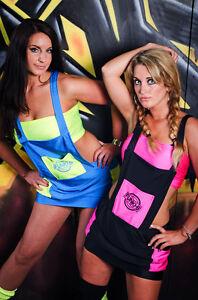 Funki-B sexy dungaree dress boobtube 2 piece neon rave cyber outfit dancewear