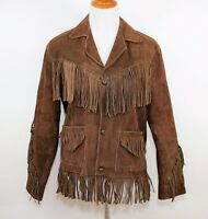 VINTAGE Women's M BROWN SUEDE LEATHER FRINGE WESTERN JACKET COAT Made in Mexico