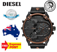 DIESEL MENS WATCH MR.DADDY 2.0 BLACK DIAL LEATHER STRAP COPPER TRIM DZ7400