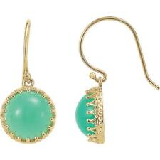14k Yellow Gold Chrysoprase Round Crown Earrings