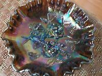 Vintage Imperial Glass 3 Toed Ruffled Open Rose Carnival Glass Bowl *MINT*