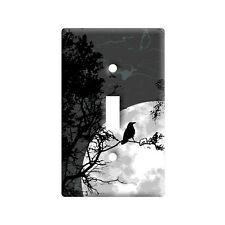 Raven at Night - Black Bird Full Moon - Wall Toggle Light Switch Plate Cover