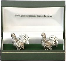 Capercaillie Pewter Cufflinks Game Shooting Gift Boxed