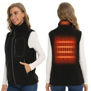Women Heated Vest  USB power bank operated black fleece