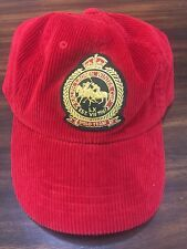 Ralph Lauren POLO Cup Snow Championship Red Leather Strap Hat Cap Corduroy VTG