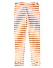 Gymboree HAPPY HARVEST Orange White Striped Bow Halloween Leggings Size 8 NWT