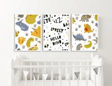 Dinosaur Nursery Pictures / Boys Bedroom Prints - Set of 3 / Decor Ideas