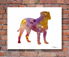 Bullmastiff 2 Contemporary Watercolor 11 x 14 Art Print by Artist Djr