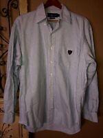 Ralph Lauren Long Sleeve Button Down Shirt White Blue Striped Mens M