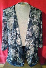 BonWorth Sexy Lacy Sheer Black & Ivory White Floral Swing Top Jacket Size Medium