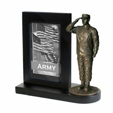 MD103B Army Salute Statue with Photo Frame and BLACK Wood Base - Khaki Army
