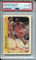 1986 Fleer Basketball Sticker #8 Michael Jordan Rookie Card PSA Ex Mint 6 Bulls