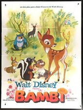 "Original Bambi Movie Poster Huge French 1-Panel 47""x63"" Walt Disney Rare Vintage"