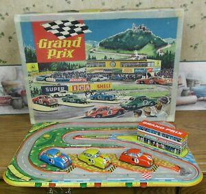 Technofix 302 Grand Prix Tin Wind Up Porsche Race Set w/BOX CARS WORKS 1950'S