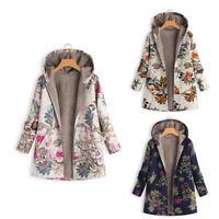 Women Hooded Casaul Coat Autumn Winter Leave Floral Loose Fleece Zipper Outw gt