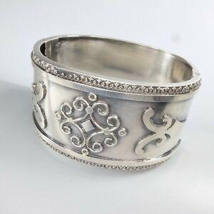 Antique Victorian Solid Silver Bracelet Wide Cuff Bangle Etruscan HM Birm 1882