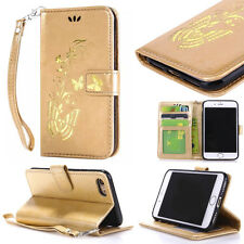 New Gold butterfly Flip Wallet Leather Case Cover for Various Mobile Phones