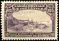 Canada #101 mint VF OG very DG 1908 Quebec 10c violet Quebec in 1700 CV$300.00
