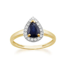 Pear 9 Carat Yellow Gold Sapphire Fine Rings