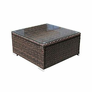 Multi Use Coffee Table Wicker Patio Furniture Set,Glass Top, 25.2 Inch,Mix Brown