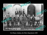 OLD POSTCARD SIZE PHOTO OF FORT WAYNE INDIANA THE POLICE DEPARTMENT c1892
