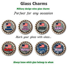 Eight Wine Glass Charms Military Themed Charms For All Four Branches of Military