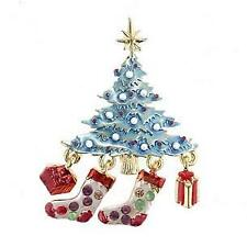 Beautiful Christmas Tree with Moveable Dangling stockings Brooch/ Pin