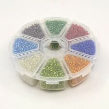 8 Colours of Silver Lined Glass Seed Beads, 3mm 8/0 & Box Jewellery Making