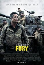 Fury (2014) Movie Poster (24x36) - Brad Pitt, Shia LaBeouf, Logan Lerman NEW v1