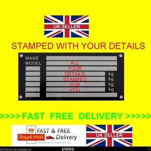 #1 ANY CAR VAN TRUCK LORRY ID TAG VIN CHASSIS PLATE PLAQUE D1 FAST DELIVERY BLK