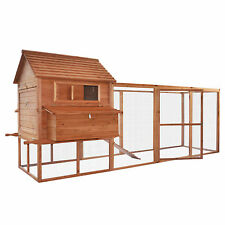 Pawhut Large Poultry Goose Wooden Chicken Coop Pet House Run Nest Box Backyard