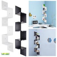 5 Tier Wooden Corner Shelf Zig Zag Floating Wall Mount Storage Display Rack Home