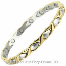 Ladies Stainless Steel Magnetic Bracelet with Gold & Chrome Finish Elegant Two-T