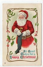 """""""ALL GOOD WISHES FOR A HAPPY CHRISTMAS"""": Embossed Santa Claus postcard (C14084)"""