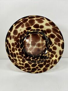 Pier 1 Imports Tortoise Glass Salad Plate Hand Blown Leopard Brown Spotted