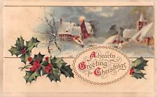 Full Moon Over Snowy Village on 1915 Christmas Postcard With Hlly