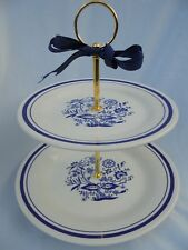 BLUE WHITE WEDDING, 2 Tier cake stand, Blue Willow,Oxford 1921 plate