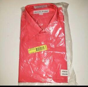 NIP Men's Salmon Button Up Dress Shirt 16.5 Long Sleeve  MT#2