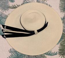 1950s Vintage Cartwheel Platter Hat Pinup Viva Rockabilly Retro Cream White 50s