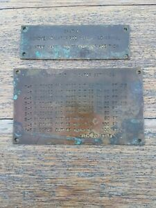 Brass Small Signs Reclaimed  Industrial crane caution Vintage