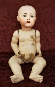 Antique Japan Bisque Head Baby Doll 76018. 605 Parts/Projec/Repair Doll 18 inch