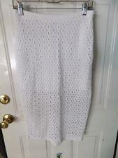 Express White Cotton Midi Pencil Eyelet Zip Back Slit Skirt Size 4 Women's EUC